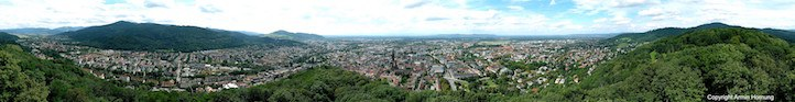 A scenic overview from the Schlossberg in Freiburg